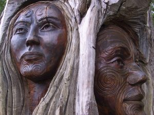 Native American wooden statues